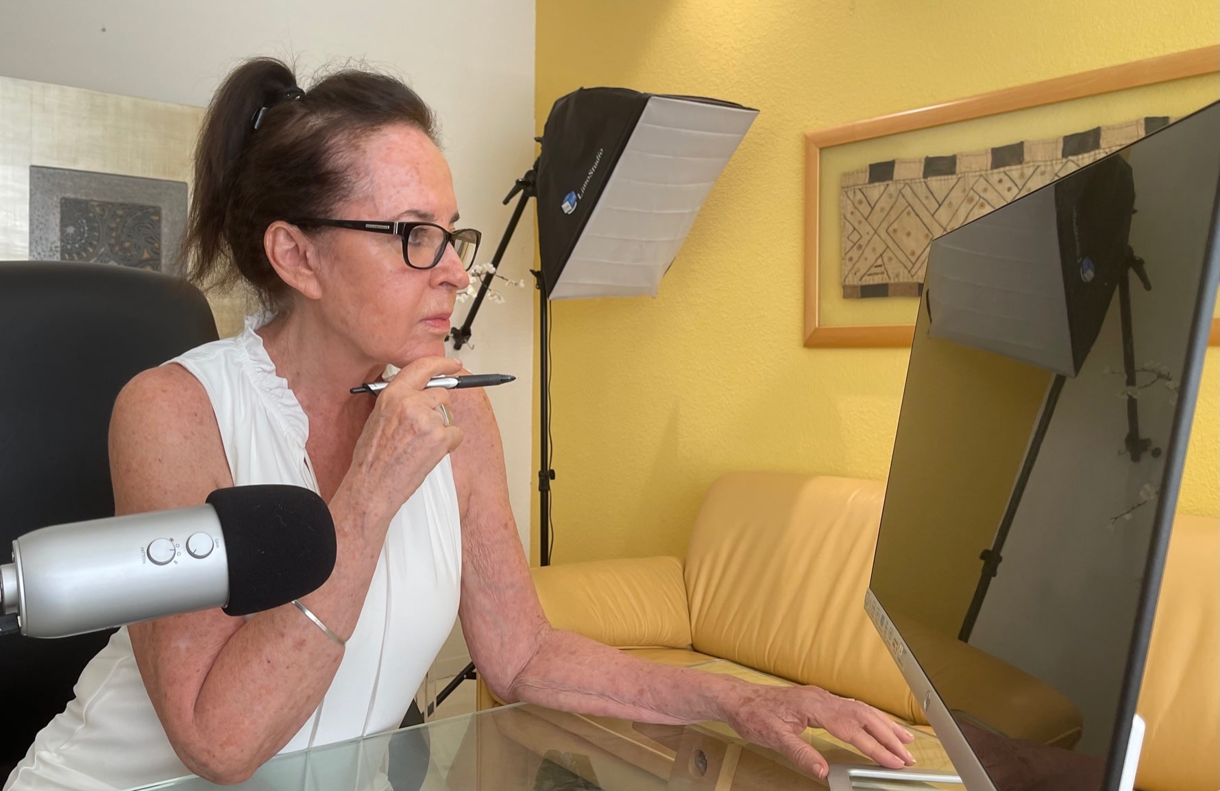 Dr. Sandy Gluckman working at home